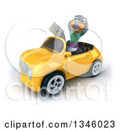 Clipart Of A 3d Pigeon Holding An Envelope And Driving A Yellow Convertible Car Slightly To The Left Royalty Free Illustration by Julos