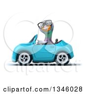 Clipart Of A 3d Bespectacled Pigeon Driving A Blue Convertible Car To The Left Royalty Free Illustration