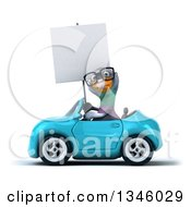 Clipart Of A 3d Bespectacled Pigeon Holding A Blank Sign And Driving A Blue Convertible Car To The Left Royalty Free Illustration by Julos
