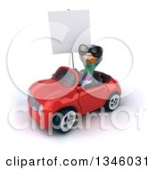 Clipart Of A 3d Pigeon Wearing Sunglasses Holding A Blank Sign And Driving A Red Convertible Car Slightly To The Left Royalty Free Illustration by Julos
