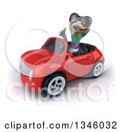 Clipart Of A 3d Pigeon Wearing Sunglasses Giving A Thumb Up And Driving A Red Convertible Car Slightly To The Left Royalty Free Illustration by Julos