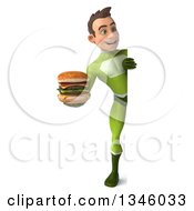 Clipart Of A 3d Full Length Young White Male Super Hero In A Green Suit Holding A Double Cheeseburger And Looking Around A Sign Royalty Free Illustration by Julos