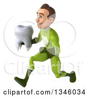 Clipart Of A 3d Young White Male Super Hero In A Green Suit Holding A Tooth And Sprinting To The Left Royalty Free Illustration by Julos
