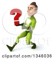 Clipart Of A 3d Young White Male Super Hero In A Green Suit Holding A Question Mark And Speed Walking To The Left Royalty Free Illustration by Julos