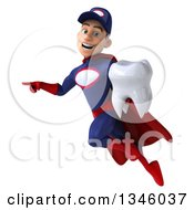 Clipart Of A 3d Young White Male Super Hero Mechanic In Red And Dark Blue Holding A Tooth Pointing And Flying Royalty Free Illustration by Julos
