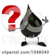 Clipart Of A 3d Oil Drop Character Holding Up A Finger And A Question Mark Royalty Free Illustration by Julos