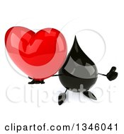 Clipart Of A 3d Oil Drop Character Holding Up A Heart And Thumb Royalty Free Illustration by Julos