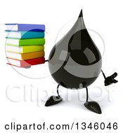 Clipart Of A 3d Oil Drop Character Holding A Stack Of Books And Shrugging Royalty Free Illustration by Julos