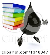 Clipart Of A 3d Oil Drop Character Holding A Stack Of Books And Jumping Royalty Free Illustration by Julos