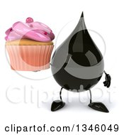 Clipart Of A 3d Oil Drop Character Holding A Pink Frosted Cupcake Royalty Free Illustration by Julos