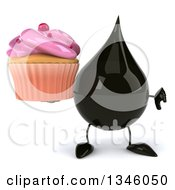 Clipart Of A 3d Oil Drop Character Holding A Pink Frosted Cupcake And Giving A Thumb Down Royalty Free Illustration by Julos