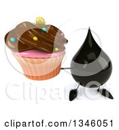 Clipart Of A 3d Oil Drop Character Holding Up A Chocolate Frosted Cupcake Royalty Free Illustration by Julos