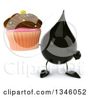 Clipart Of A 3d Oil Drop Character Holding And Pointing To A Chocolate Frosted Cupcake Royalty Free Illustration by Julos