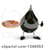 Clipart Of A 3d Oil Drop Character Holding A Pizza And Giving A Thumb Up Royalty Free Illustration