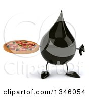 Clipart Of A 3d Oil Drop Character Holding A Pizza And Giving A Thumb Down Royalty Free Illustration
