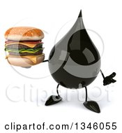 Clipart Of A 3d Oil Drop Character Holding A Double Cheeseburger And Shrugging Royalty Free Illustration by Julos