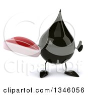 Clipart Of A 3d Oil Drop Character Holding A Beef Steak And Giving A Thumb Up Royalty Free Illustration by Julos