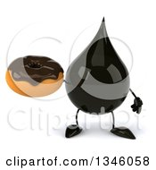 Clipart Of A 3d Oil Drop Character Holding A Chocolate Glazed Donut Royalty Free Illustration by Julos