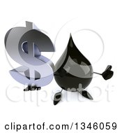 Clipart Of A 3d Oil Drop Character Holding Up A Dollar Currency Symbol And Thumb Royalty Free Illustration by Julos
