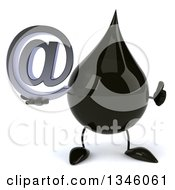 Clipart Of A 3d Oil Drop Character Giving A Thumb Up And Holding An Email Arobase At Symbol Royalty Free Illustration by Julos
