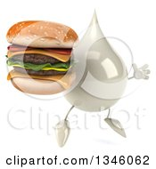 Clipart Of A 3d Milk Lotion Shampoo Or Liquid Soap Drop Character Holding A Double Cheeseburger And Jumping Facing Slightly Right Royalty Free Illustration