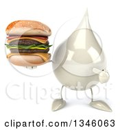 Clipart Of A 3d Milk Lotion Shampoo Or Liquid Soap Drop Character Holding And Pointing To A Double Cheeseburger Royalty Free Illustration