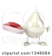 Clipart Of A 3d Milk Lotion Shampoo Or Liquid Soap Drop Character Holding A Beef Steak And Giving A Thumb Down Royalty Free Illustration by Julos
