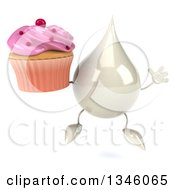 Clipart Of A 3d Milk Lotion Shampoo Or Liquid Soap Drop Character Holding A Pink Frosted Cupcake And Jumping Royalty Free Illustration