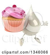 Clipart Of A 3d Milk Lotion Shampoo Or Liquid Soap Drop Character Facing Slightly Right Holding A Pink Frosted Cupcake And Jumping Royalty Free Illustration