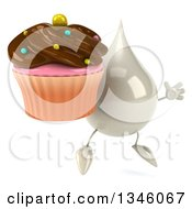 Clipart Of A 3d Milk Lotion Shampoo Or Liquid Soap Drop Character Facing Slightly Right Holding A Chocolate Frosted Cupcake And Jumping Royalty Free Illustration by Julos