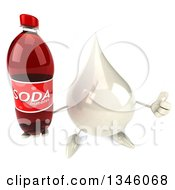 Clipart Of A 3d Milk Lotion Shampoo Or Liquid Soap Drop Character Holding Up A Thumb And A Soda Bottle Royalty Free Illustration by Julos