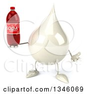 Clipart Of A 3d Milk Lotion Shampoo Or Liquid Soap Drop Character Shrugging And Holding A Soda Bottle Royalty Free Illustration by Julos
