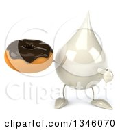 Clipart Of A 3d Milk Lotion Shampoo Or Liquid Soap Drop Character Holding And Pointing To A Chocolate Glazed Donut Royalty Free Illustration by Julos