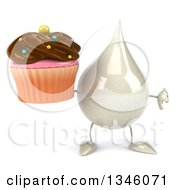 Clipart Of A 3d Milk Lotion Shampoo Or Liquid Soap Drop Character Giving A Thumb Down And Holding A Chocolate Frosted Cupcake Royalty Free Illustration