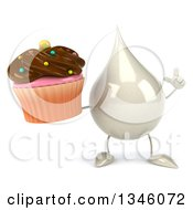 Clipart Of A 3d Milk Lotion Shampoo Or Liquid Soap Drop Character Holding Up A Finger And A Chocolate Frosted Cupcake Royalty Free Illustration