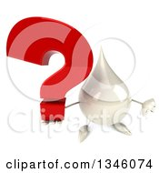 Clipart Of A 3d Milk Lotion Shampoo Or Liquid Soap Drop Character Holding Up A Thumb Down And A Question Mark Royalty Free Illustration by Julos