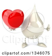 Clipart Of A 3d Milk Lotion Shampoo Or Liquid Soap Drop Character Holding A Heart And Giving A Thumb Up Royalty Free Illustration by Julos