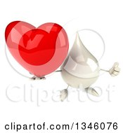 Clipart Of A 3d Milk Lotion Shampoo Or Liquid Soap Drop Character Holding Up A Heart And Thumb Royalty Free Illustration by Julos