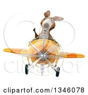 Clipart Of A 3d Kangaroo Aviator Pilot Giving A Thumb Up And Flying A Yellow Airplane Royalty Free Illustration