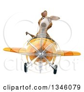 Clipart Of A 3d Kangaroo Aviator Pilot Giving A Thumb Down And Flying A Yellow Airplane Royalty Free Illustration