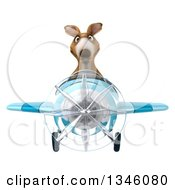 Clipart Of A 3d Kangaroo Aviator Pilot Flying A Blue Airplane Royalty Free Illustration