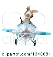 Clipart Of A 3d Kangaroo Aviator Pilot Giving A Thumb Up And Flying A Blue Airplane Royalty Free Illustration