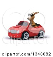 Clipart Of A 3d Kangaroo Wearing Sunglasses And Driving A Red Convertible Car Slightly To The Left Royalty Free Illustration