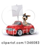 Clipart Of A 3d Kangaroo Wearing Sunglasses Holding A Blank Sign And Driving A Red Convertible Car Slightly To The Left Royalty Free Illustration
