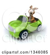 Clipart Of A 3d Kangaroo Giving A Thumb Up And Driving A Green Convertible Car Slightly To The Left Royalty Free Illustration