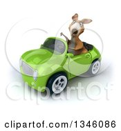 Clipart Of A 3d Kangaroo Giving A Thumb Down And Driving A Green Convertible Car Slightly To The Left Royalty Free Illustration