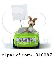 Clipart Of A 3d Kangaroo Holding A Blank Sign And Driving A Green Convertible Car Royalty Free Illustration