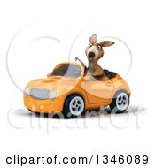 Clipart Of A 3d Kangaroo Giving A Thumb Down And Driving An Orange Convertible Car Slightly To The Left Royalty Free Illustration