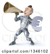Clipart Of A 3d Caucasian Male Armored Knight Holding A Euro Currency Symbol And Announcing To The Left With A Megaphone Royalty Free Illustration