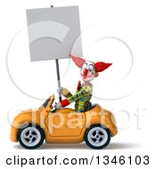 Clipart Of A 3d Funky Clown Holding A Blank Sign And Driving A Yellow Convertible Car To The Left Royalty Free Illustration